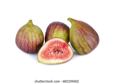 whole and half cut ripe fig on white background