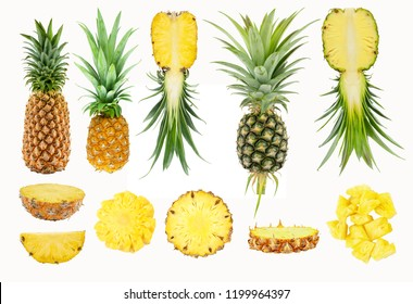 whole and half fruit of fresh pineapple with sliced, pilled and cutting pineapple, isolated on white background with clipping path