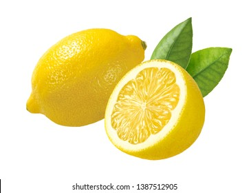 whole and half juicy lemons with leaves