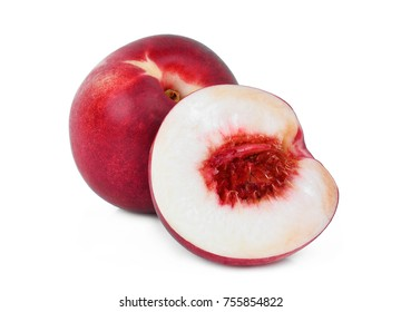 whole and half of nectarine peach fruit isolated on whitie background