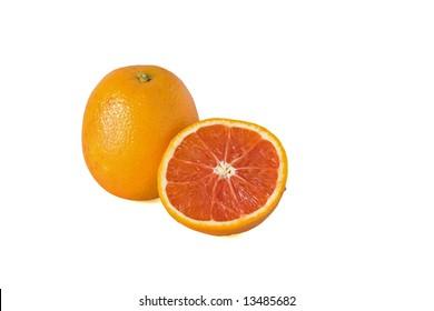 "Whole and half pink navel orange;"" cara cara orange"" against a white background"