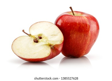 Whole and half red apples isolated on white background