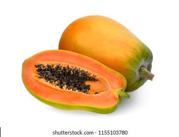 whole and half ripe papaya isolated on white background
