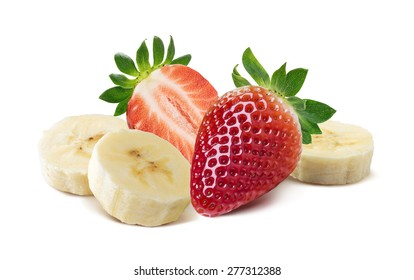 Whole and half strawberry, banana pieces isolated on white background as package design element