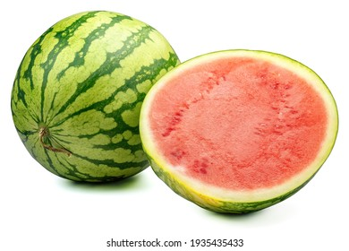whole and half watermelon isolated on white background