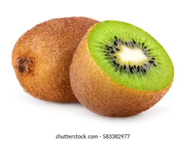Whole kiwi fruit and half of kiwi isolated on white background