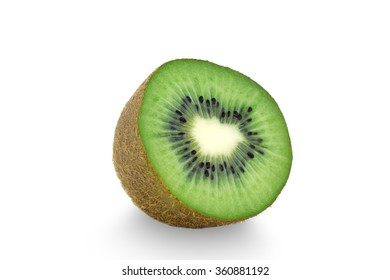 Whole kiwi fruit and his sliced segments isolated on white background