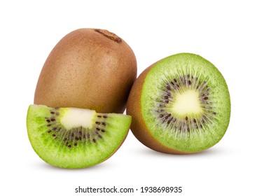 Whole kiwi fruit and sliced isolated on white background