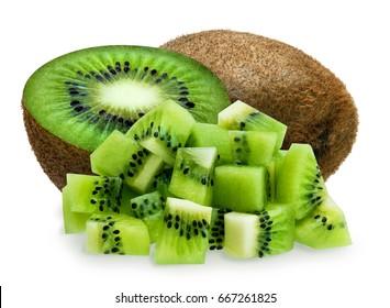 Whole kiwifruit, half and diced over white