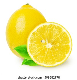 Whole lemon fruit and slice isolated on white, with clipping path