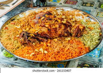 Whole mutton leg with mixed rice.Arabic food.