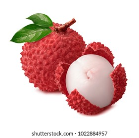 Whole and open lychee isolated on white background for package design