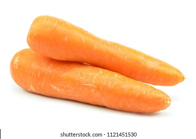 Whole orange carrot isolated on white background
