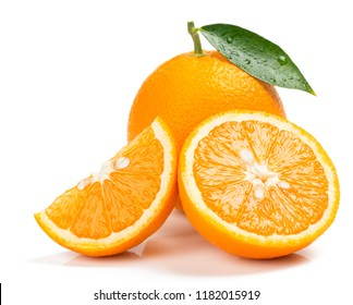 Whole orange fruit with green leaf and  and slices isolated on white background.