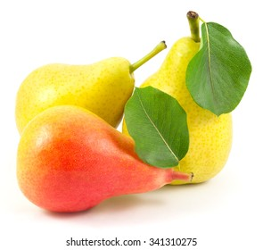 Whole pears with leaves isolated on white background