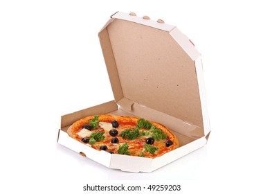 Whole pepperoni with olives pizza in box over white background