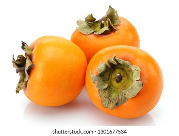 Whole Persimmon fruits isolated on white background