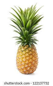 whole pineapple with green leaves isolated on white