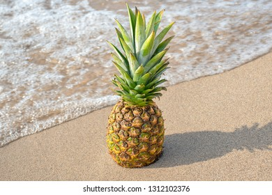 whole pineapple on beach sand with frothy ocean water surf