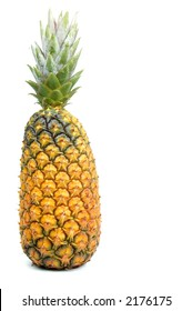 Whole pineapple over a white background.