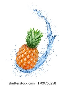 Whole pineapple in water splash with full depth of field isolated on white background.
