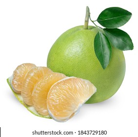 Whole pomelo with slice isolated on white background, Pomelo fruit on white background,(With clipping path)