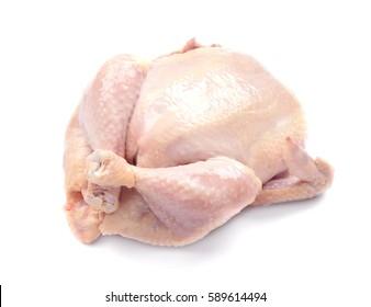 Whole raw chicken on white background