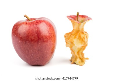 Whole red apple and core. Isolated on white background.  Oxidized