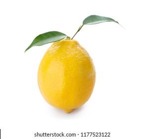 Whole ripe lemon on white background