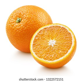 Whole ripe orange citrus fruit with half isolated on white background. Oranges with clipping path. Full depth of field.