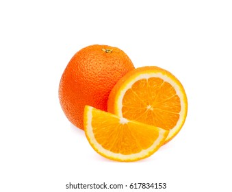Whole ripe orange fruit with slices on white background, isolated. Healthy food