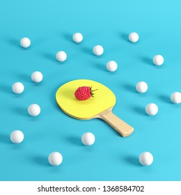 Whole ripe raspberry on ping pong paddle with yellow rubber surrounded by white ping pong balls on blue background. Minimal fruit idea concept.