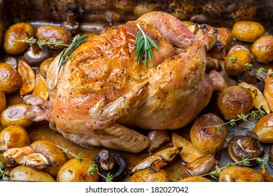 Whole Roasted Chicken with New Potatoes, Mushrooms, Lemon Wedges and Garlic Cloves