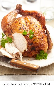 Whole Roasted Chicken on plate for holidays