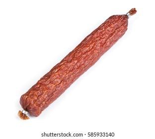 Whole salami sausage isolated on white