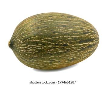 Whole single Piel de sapo melon isolated on white background