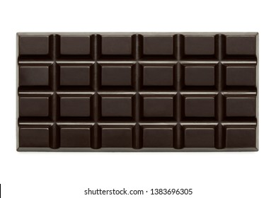 Whole slab of dark chocolate isolated on white from above.