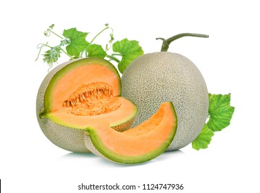 whole and slice of japanese melons, orange melon or cantaloupe melon with green leaf isolated on white background