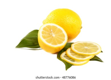 The whole and slice the lemon is shown on a white background