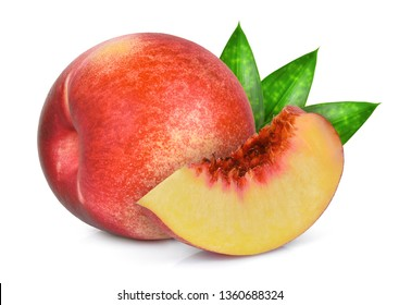 whole and slice of nectarine fruit with green leaves isolated on whitie background