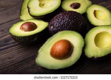 Whole and sliced avocado.Close-up