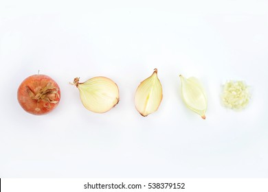 Whole, sliced and chopped yellow onion on white background