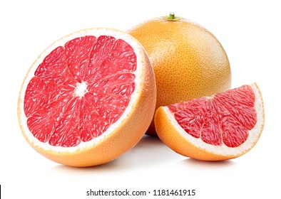 Whole and sliced grapefruit isolated on white background