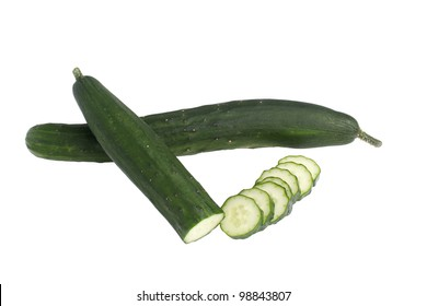 Whole and sliced Japanese cucumber isolated on white background