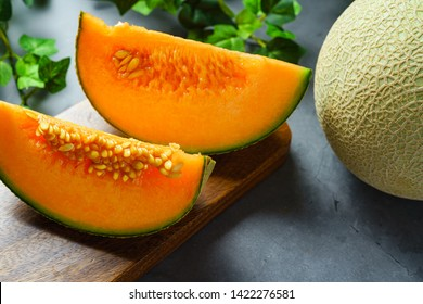Whole and sliced of melons