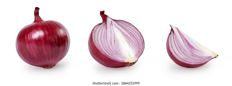 Whole and sliced red onion isolated on white background. Full depth of field.