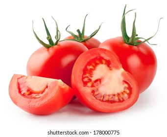 Whole and sliced red tomatoes isolated on white background