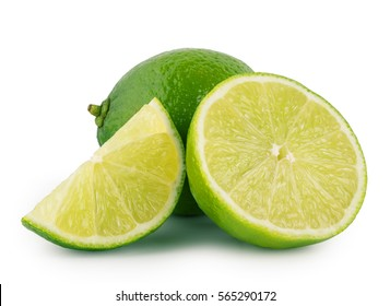 Whole and sliced sour lime isolated on white background