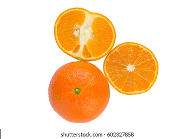 Whole and sliced tangerine on a white background