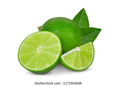 whole and slices green lime with green leaf isolated on white background